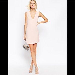 ASOS PETITE Pink Shift Dress in Jumbo Rib w/ Vneck
